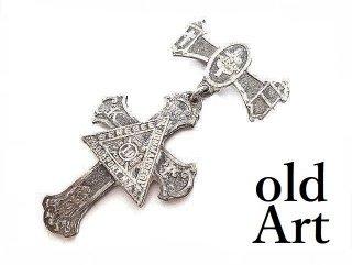USA製ヴィクトリアンアンティークフリーメイソンテンプル騎士団勲章十字架バッジ徽章【M-14082】