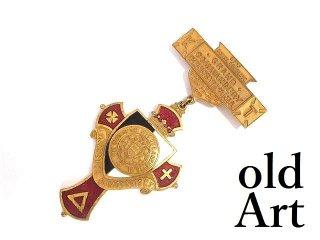 USA製1910年当時物エドワーディアンアンティークフリーメイソンテンプル騎士団勲章十字架バッジ徽章【M-14084】