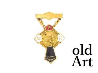 USA製1900-20年代初頭当時物エドワーディアンアンティークフリーメイソンテンプル騎士団勲章十字架バッジ徽章【M-14086】