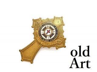 USA製1917年代当時物エドワーディアンアンティークフリーメイソンテンプル騎士団勲章十字架バッジ徽章【M-14087】