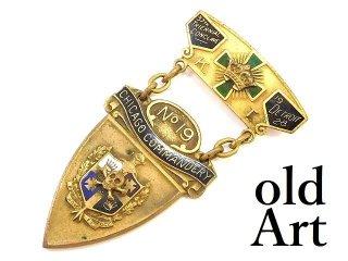 USA製1928年代当時物エドワーディアンアンティークフリーメイソンテンプル騎士団勲章十字架バッジ徽章【M-14088】