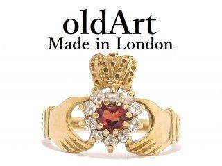 英国イギリスロンドン製アイルランド伝統的な指輪クラダリング9金無垢9CTゴールド12号【M-14138】