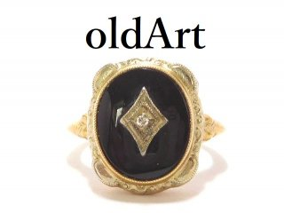 USA製1930年代アールデコアンティークオニキスダイヤモンド10金無垢ゴールドツートーンレディースリング指輪5号【M-14142】