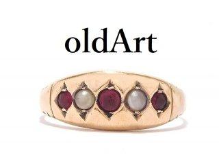 英国イギリス製1886年製造ヴィクトリアンアンティーク9金無垢ガーネットシードパールジプシーリング指輪14.5号9CTゴールド【M-14144】