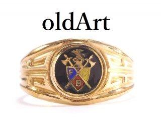 USA製1920年代アンティークFCBピシアス騎士会金張り七宝焼メンズリング指輪24号 【M-13925】