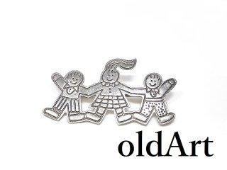 ヴィンテージ1970年代メキシコ製MEXICO銀細工スターリングシルバー製Save the Childrenメキシカンピンブローチ【M-14104】