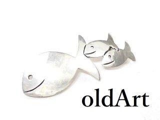 ヴィンテージ1970年代メキシコ製MEXICO銀細工スターリングシルバー製フィッシュ魚メキシカンピンブローチ【M-14108】