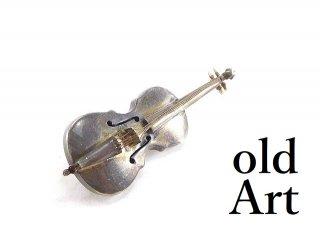 ヴィンテージ1960年代メキシコ製MEXICO銀細工スターリングシルバー製バイオリン楽器メキシカンピンブローチ【M-13977】