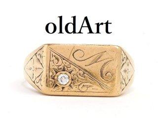 英国イギリス1980年製造ヴィンテージイニシャルM彫刻メンズシグネットリングダイヤモンド9CTゴールド/9金無垢21.8号指輪【M-14208】