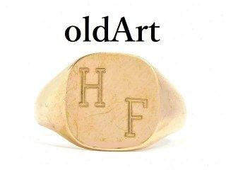英国イギリス1992年製造ヴィンテージイニシャルHF彫刻メンズシグネットリング9CTゴールド/9金無垢15.5号指輪【M-14210】