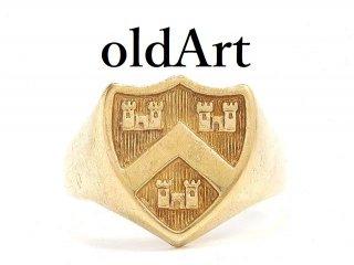 英国イギリス製ヴィンテージ1992年製造紋章ロンドンメンズ彫刻シグネットリング9CTゴールド/9金無垢24号指輪【M-14212】