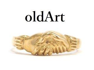 英国イギリスロンドン製ヴィンテージシェイクハンド握手メンズリング9CTゴールド/9金無垢15号指輪【M-14214】