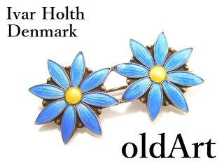 北欧ノルウェー製1950-60年代Ivar Holth七宝焼エナメル装飾フローラル花シルバー銀製船ピンブローチ【M-14254】