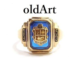 USA製1953年ヴィンテージHERFF JONES/ハーフジョンズ社10金無垢ヘリテイジカレッジリング指輪14号10Kゴールド【M-14222】
