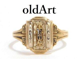 USA製1962年ヴィンテージHERFF JONES/ハーフジョンズ社10金無垢ヘリテイジカレッジリング指輪16.5号10Kゴールド【M-14223】