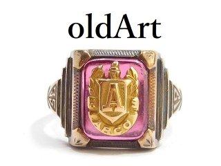 USA製1935年代ヴィンテージAイニシャル10Kゴールド&シルバー製ツートーンカレッジリング指輪10.8号【M-14225】