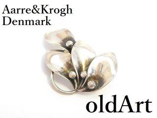 北欧デンマーク製1960年代ヴィンテージAarre&Kroghシルバー銀製リーフピンブローチ【M-14264】