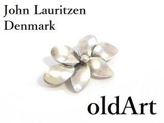 北欧デンマーク製1970年代ヴィンテージJohn Lauritzenシルバー銀製フローラル立体花ピンブローチ【M-14265】