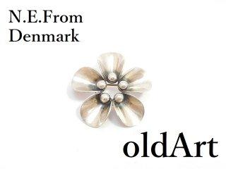 北欧デンマーク製N.E.Fromヴィンテージ1960年代シルバー製花フローラルピンブローチ【M-14267】