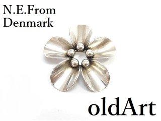 北欧デンマーク製N.E.Fromヴィンテージ1960年代シルバー製花フローラルピンブローチ【M-14268】