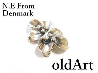 北欧デンマーク製N.E.Fromヴィンテージ1960年代シルバー製花フローラルクリップイヤリング【M-14269】