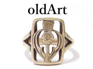 スコットランド製ヴィンテージ国花アザミシスルケルト伝統的銀細工シルバー銀製リング指輪12号【M-12933】
