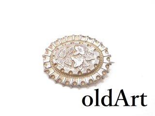 英国イギリス製1880-1910年代ヴィクトリアンアンティーク純銀彫刻シルバー製ピンブローチ【M-14279】