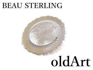 1970年代BEAU STERLINGイニシャル彫刻シグネットシルバー銀製コスチュームジュエリーヴィンテージピンブローチ【M-14301】