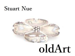 USAヴィンテージ1950-60年代Stuart NueハナミズキSTERLINGシルバー製銀細工コスチュームジュエリーピンブローチ【M-14297】