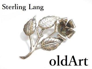 USA製ヴィンテージ1940-50年代Sterling Lang花植物フローラル透かし細工コスチュームジュエリーピンブローチ【M-14302】