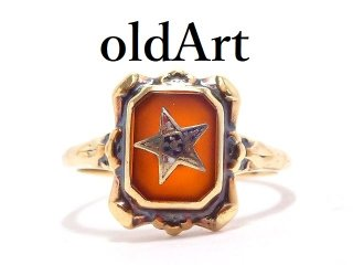 USA製ヴィンテージ1950年代フリーメイソンイースタンスター逆五芒星10金無垢カーネリアンリング指輪12.5号10Kゴールド【M-14338】