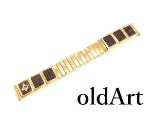 USA製MARK�社ヴィンテージ1950年代フリーメイソンクロコ型押し金張りステンレス腕時計蛇腹ウォッチベルト16mm【M-14343】