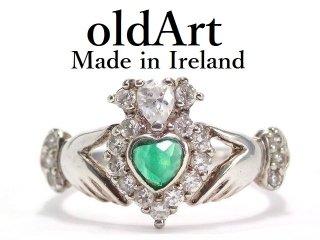 アイルランド製TJH工房伝統的な指輪クラダリング豪華スターリングシルバー製15号ホールマーク刻印【M-14324】