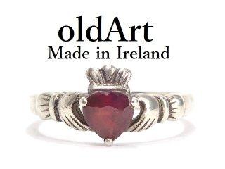 アイルランド製SOLVAR社伝統的な指輪Claddagh Ringクラダリング赤石スターリングシルバー製16.5号ホールマーク刻印【M-14325】