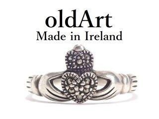 アイルランド製SOLVAR社伝統的な指輪Claddagh Ringクラダリングマルカジットスターリングシルバー製15.8号ホールマーク刻印【M-14326】