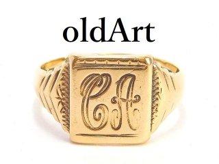 英国イギリス1973年製造ヴィンテージイニシャルCA彫刻メンズシグネットリング9CTゴールド/9金無垢16号指輪【M-14327】