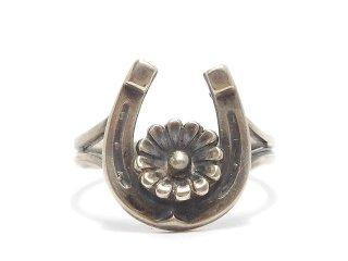 北欧デンマーク製N.E.From1950-60年代ヴィンテージ馬蹄ホースシューフローラルシルバー銀製リング指輪10.5号【M-14331】
