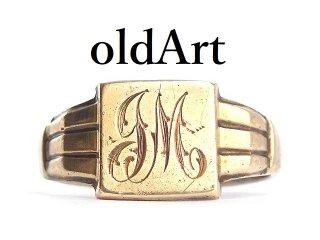 英国イギリス製ヴィンテージイニシャルFMシグネットリングスターリングシルバー製9CTゴールド金張りメンズ指輪23号【M-14351】