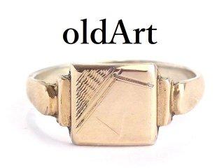 英国イギリス製ヴィンテージシグネットリングスターリングシルバー製9CTゴールド金張りメンズ指輪25号【M-14346】