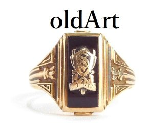 USA製1939年代ヴィンテージSPIES BROS社ヘリテイジオニキス10金無垢カレッジリング指輪11.5号10Kゴールド【M-14361】
