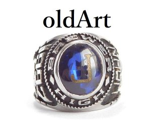 USAヴィンテージ1997年代GOLD LANCE社製イニシャルJ熊青石BREWER H.S重厚メンズカレッジリング指輪16号【M-14364】