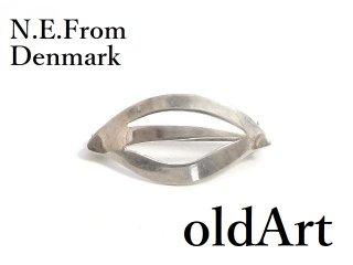 北欧デンマーク製N.E.Fromヴィンテージ1950-60年代透かし細工シルバー銀製リーフ葉ブローチ【M-14370】