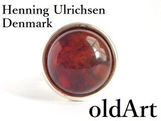 北欧デンマーク製1960年代Henning Ulrichsenモダン琥珀シルバー銀製カボションリング指輪13号【M-14381】