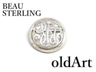 1960年代BEAU STERLINGイニシャルシルバー銀製コスチュームジュエリーヴィンテージピンブローチ【M-14374】