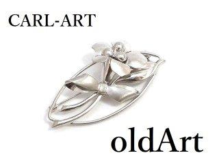 アメリカヴィンテージ1950年代CARL-ART花フローラルSTERLINGシルバー製銀細工コスチュームジュエリーピンブローチ【M-14375】