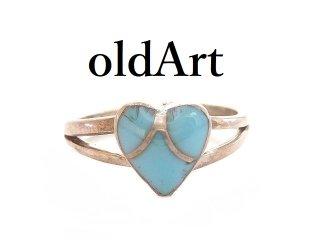 USAヴィンテージ1950年代ハートターコイズインディアンシルバー製リング指輪9号【M-14425】