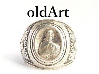 入手困難1940年フリーメイソンデモレーDe Molayテンプル騎士団シルバー製メンズリング指輪19号【M-14413】