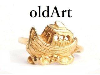 USA製ヴィンテージ旧約聖書ノアの箱舟神話10金無垢10Kゴールドレディースリング指輪12号【M-14421】