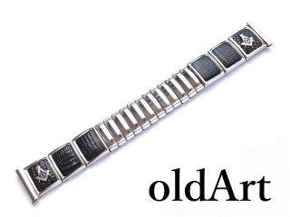 USA製ヴィンテージ1950年代JB CHAMPION社フリーメイソンクロコ型押しシルバーステンレス腕時計蛇腹ウォッチベルト18mm【M-14419】