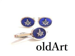 USA製ビンテージ1960年代フリーメイソンブルー×シルバー銀製カフスタイピンセット【M-14427】